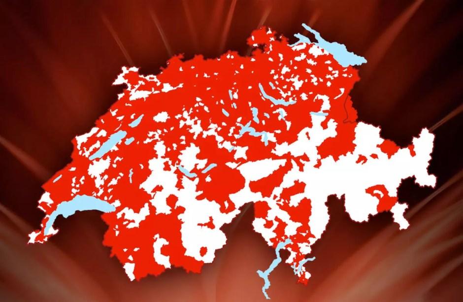 Le réseau câblé en Suisse.