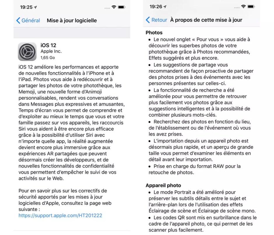 Apple iOS 12 disponible en un temps record!
