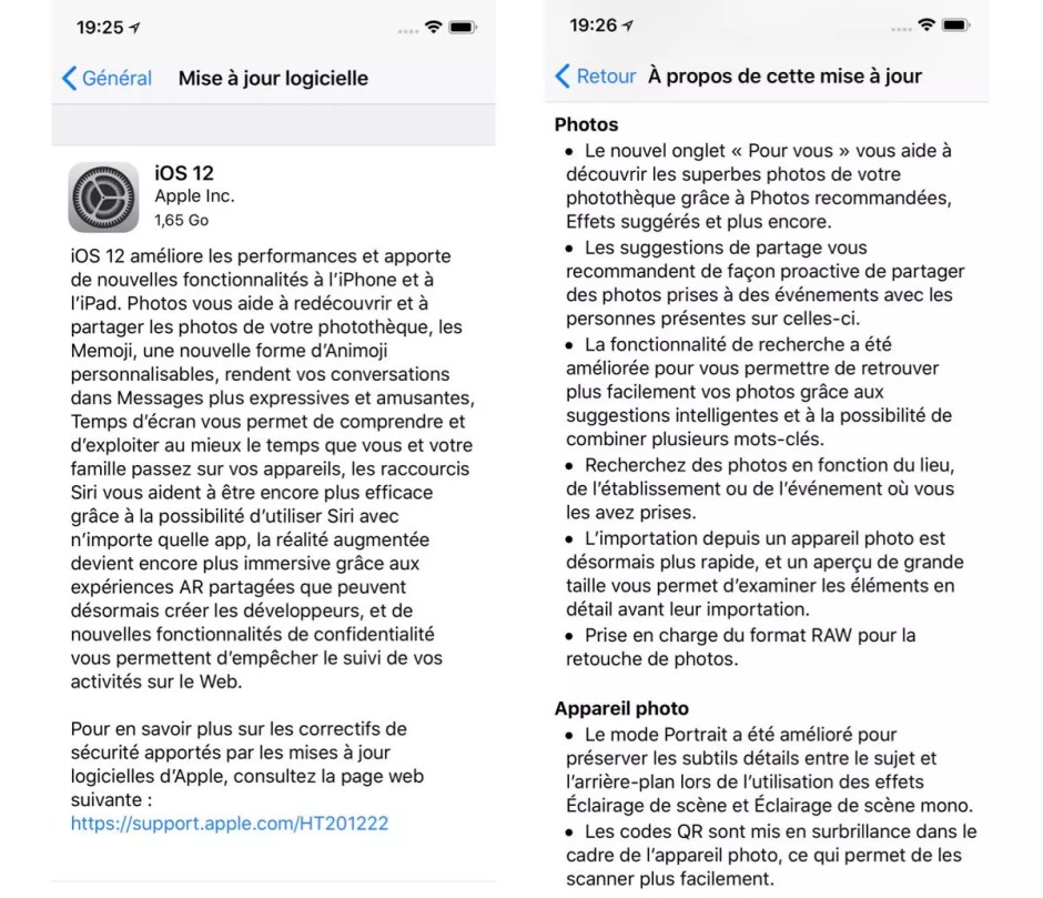Apple iOS 12 disponible en un temps record!