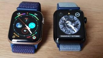 L'Apple Watch series 4 cellulair (à gauche) à côté de la series 3.