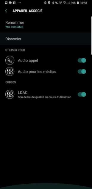 Sony WH-1000X M3: active le LDAC dans les options Bluetooth.