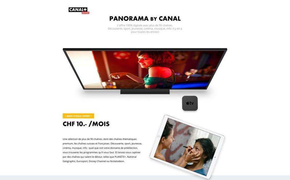 L'offre TV Panorama de Canal + à dix francs par mois.