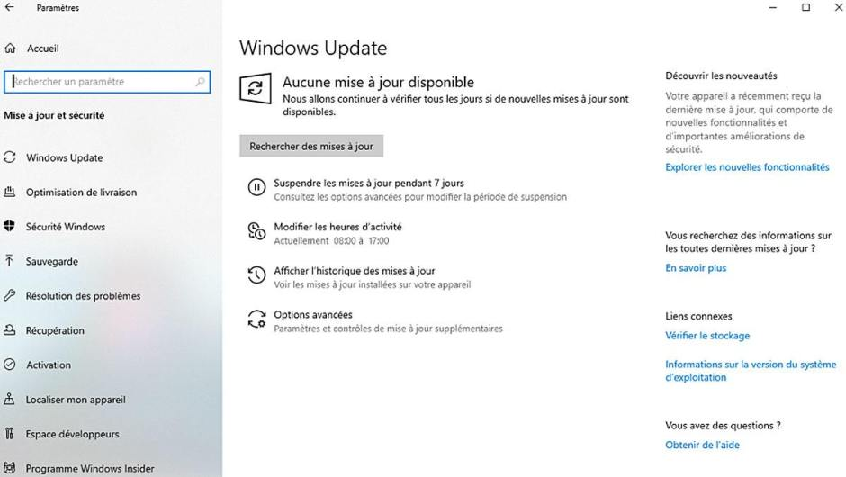 WIndows 10 Insider, build 18312: gestion des mises à jour.