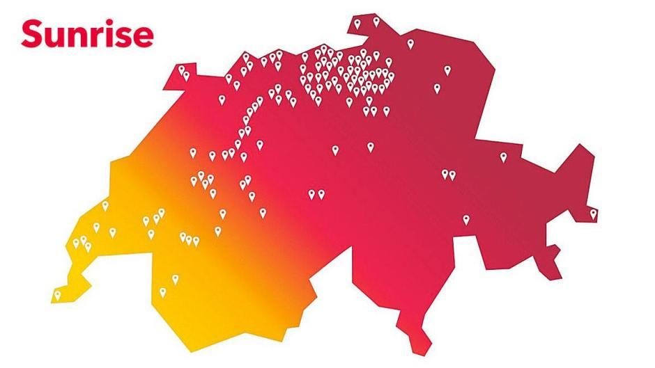 Sunrise propose déjà la 5G dans 150 localités! Bravo!
