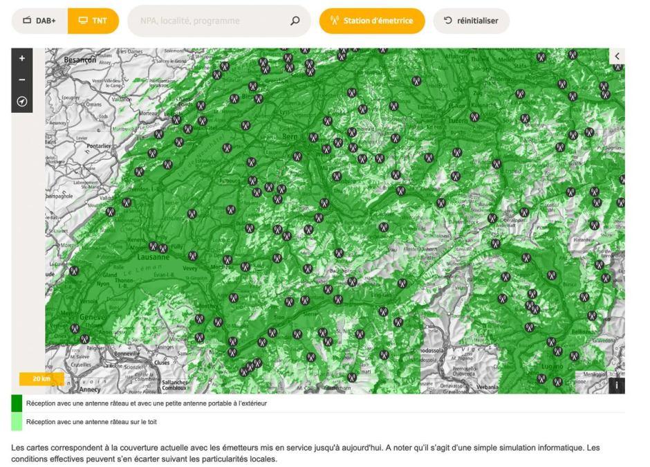 Le réseau de la TNT en Suisse romande avec ses émetteurs.
