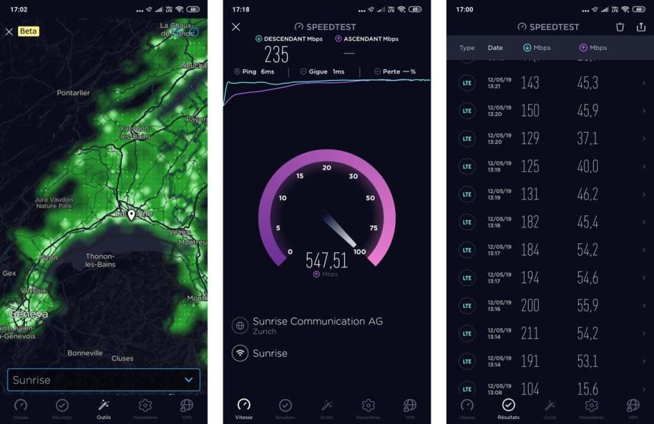 Le réseau de Sunrise sur Ookla, mesure de débit Wi-Fi et mesures en 5G (à droite) à Palézieux.