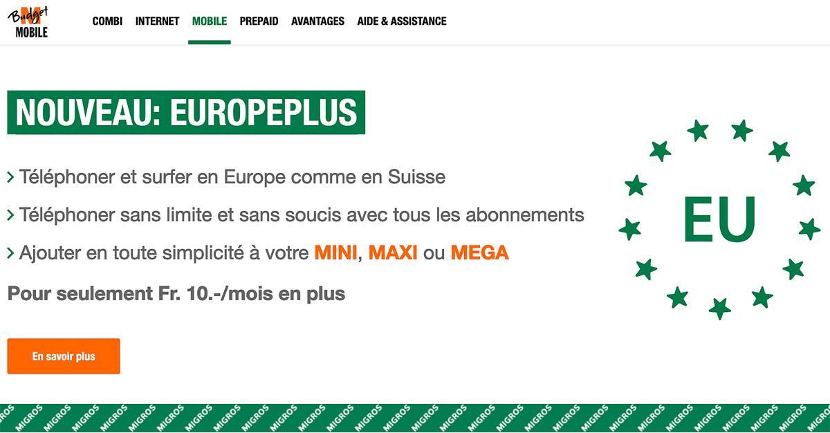 Le roaming sauce Swisscom et Migros à 10 francs.