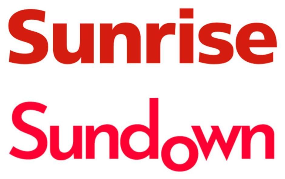 Le logo de Sunrise ainsi que celui du site de propagande sundown.ch.