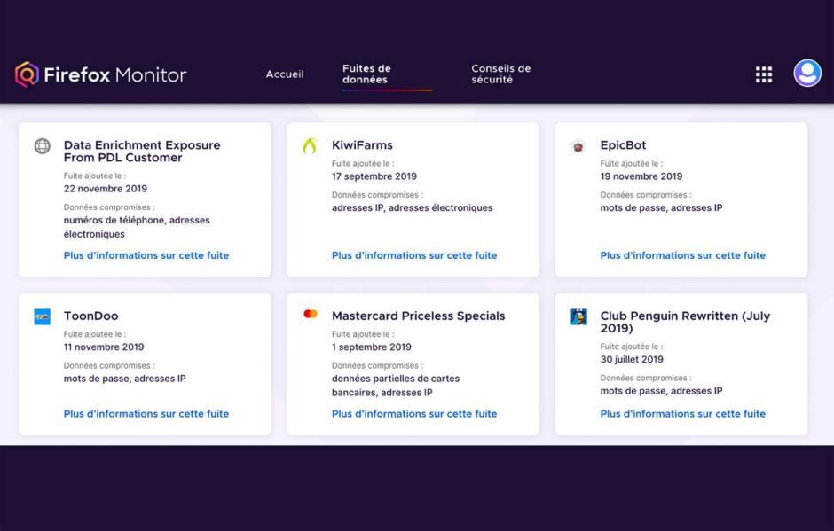 Firefox Monitor vous permet de surveiller les comptes associés à plusieurs mails...
