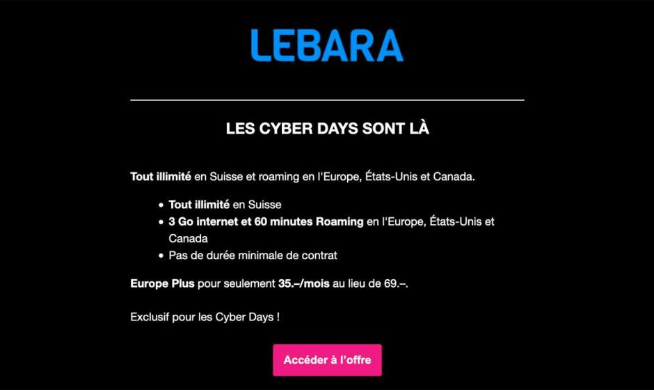 Lebara, une marque de Sunrise en Suisse, a lancé le concept de tout illimité pour 15 francs...