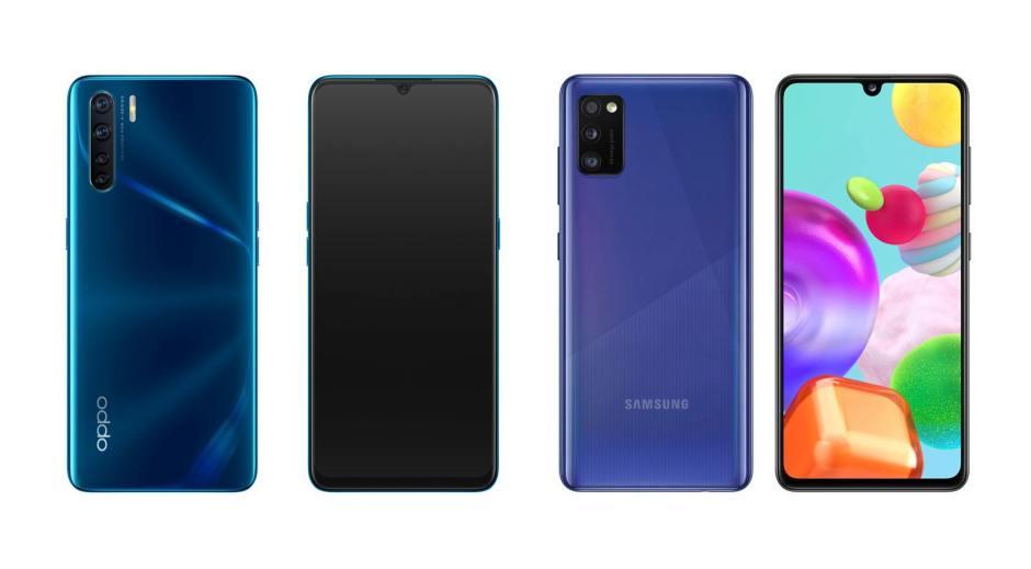 Oppo A91, à gauche, ou Samsung Galaxy A41?