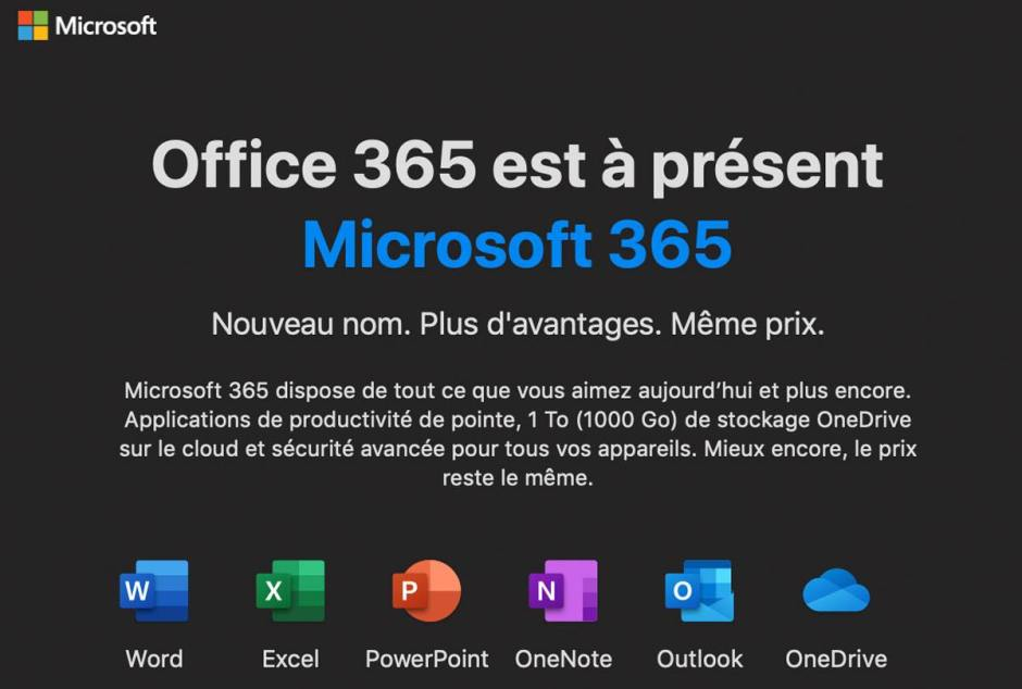 Office 364 devient Microsoft 365.