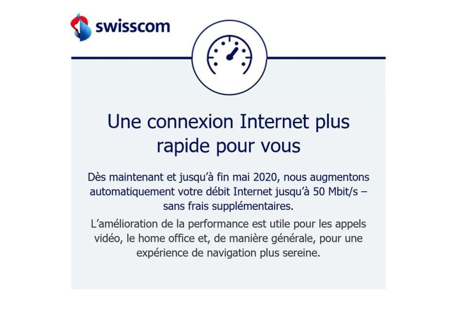 Swisscom fait un geste et booste l'internet des modestes.