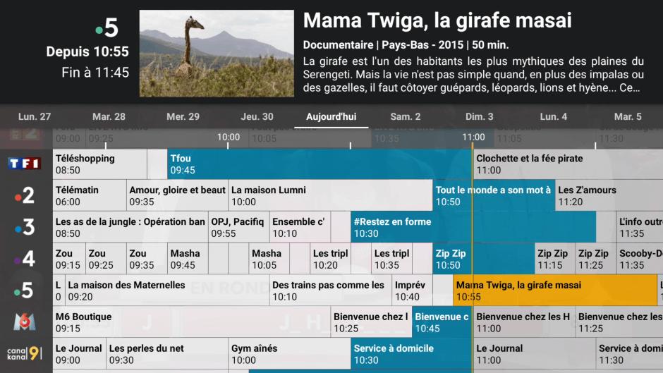 Boîtier TV Android de Net+: un guide de programmes très lisible.