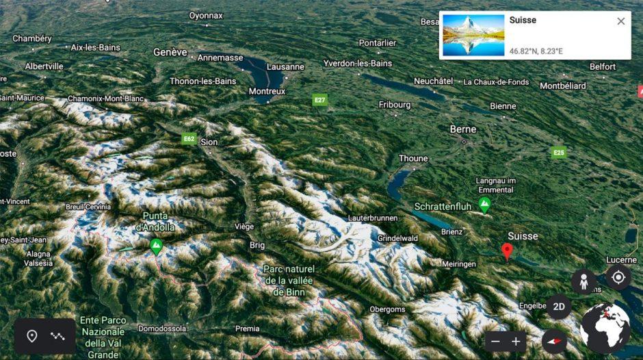 Visitez la Suisse avec Google Earth!