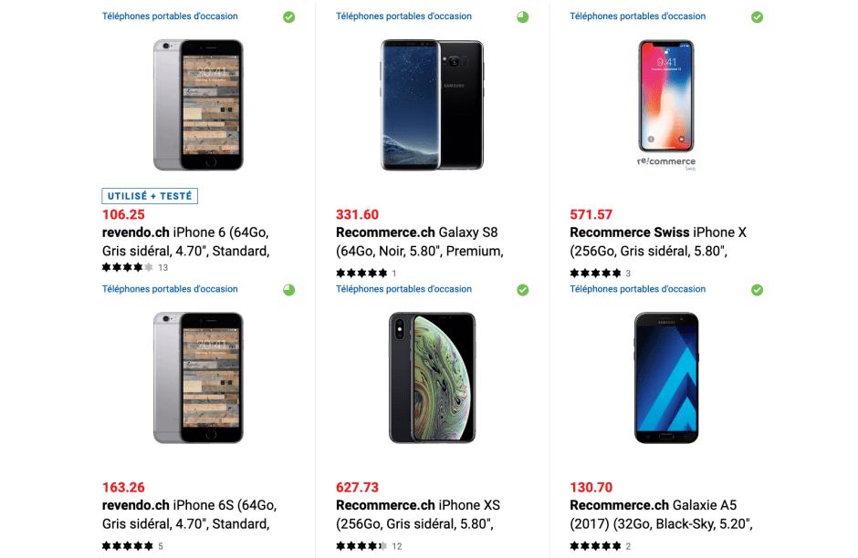 Environ 1% des smartphones vendus par Digitec sont usagés.