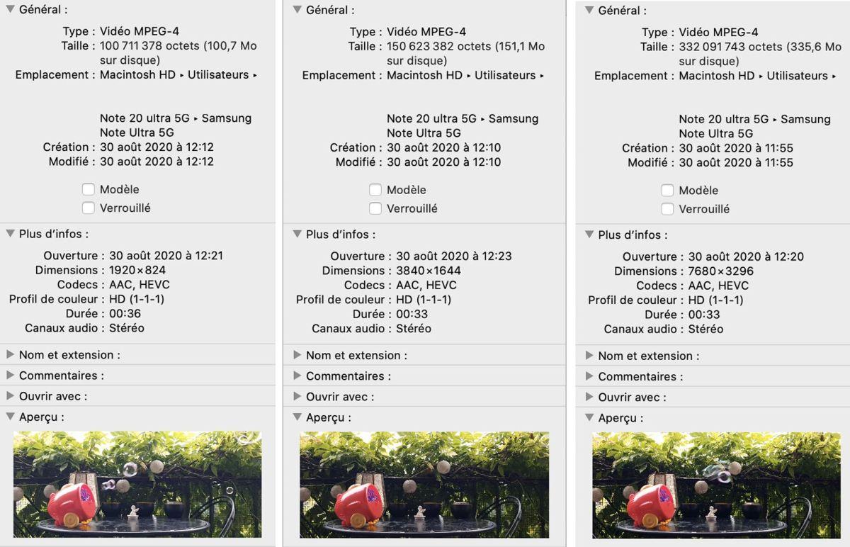 Test vidéo du Galaxy Note 20 Ultra 5G : le détail des fichiers.