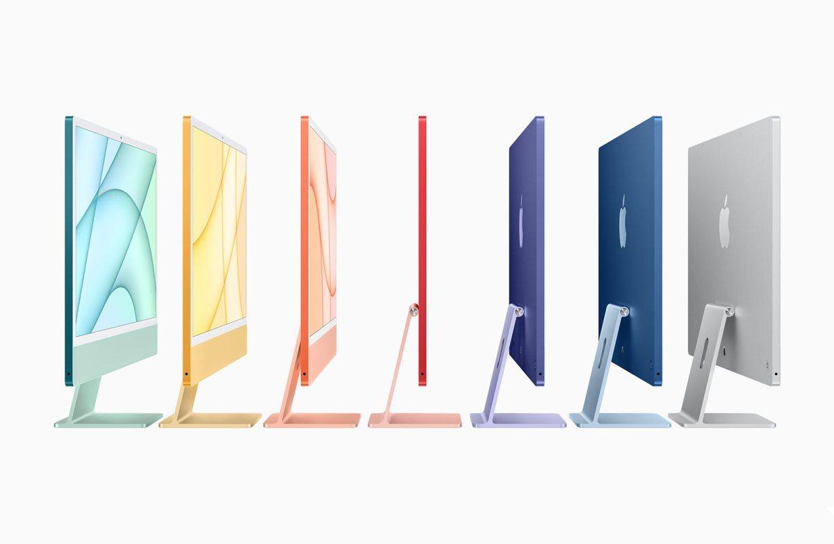 Les nouveaux iMac 24 pouces avec puce M1.