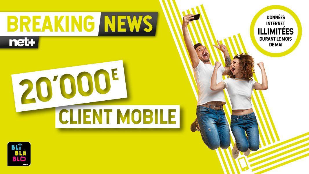 Net+ fête ses 20'000 clients mobile.