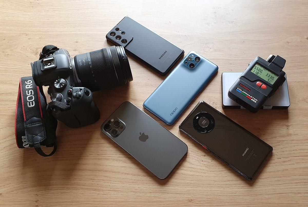 Canon EOS R6 vs iPhone 12 Pro Max vs Oppo Find X3 Pro vs Samsung Galaxy S21 vs Huawei Mate 40 pro.