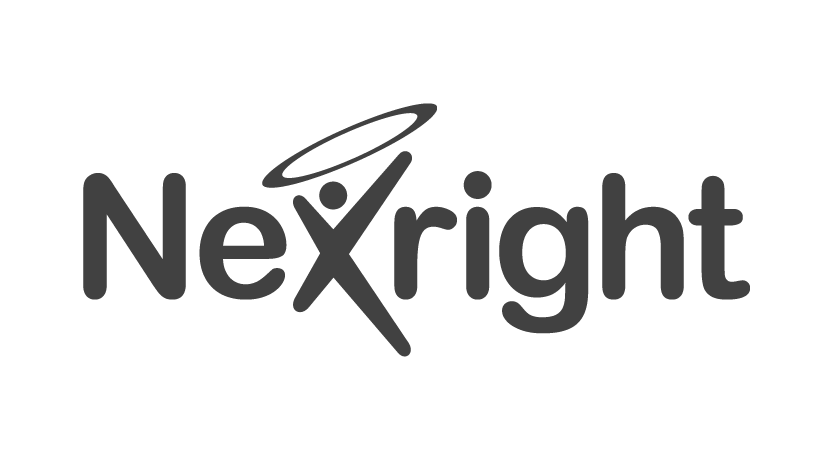 Nexright logo in transparent grey png