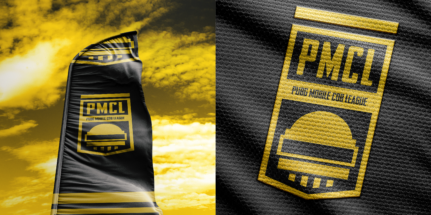 PMCL pubg gaming branding flag design