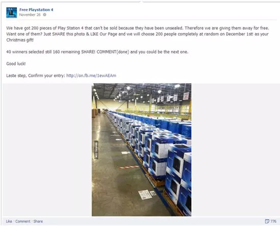 Playstation 4 απάτη μέσω Facebook