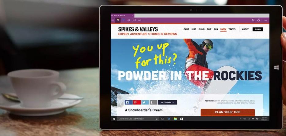Microsoft Edge on Surface Pro