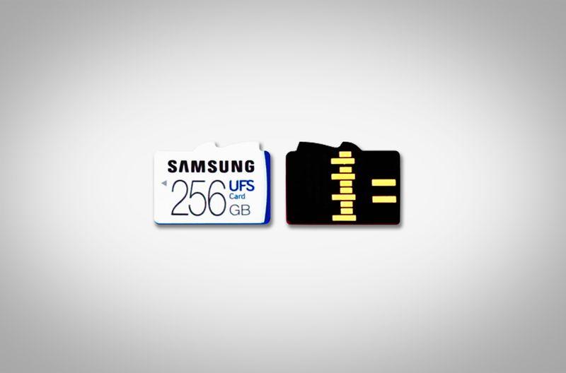 Το μπροστινό και το πίσω μέρος μιας UFS κάρτας