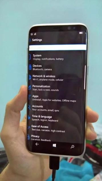 Samsung Galaxy S8 running Windows 10 Mobile (2)