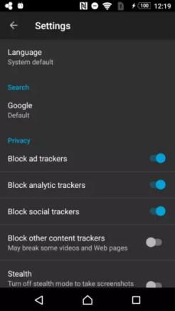 Firefox Focus settings