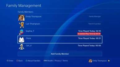 Sony PlayStation 4 Play Time Management