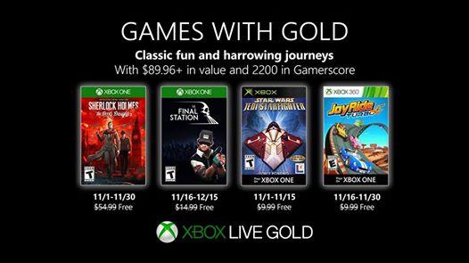 Voici les #GamesWithGold pour novembre 2019 sur #XboxOne et #Xbox360 – #sherlockholmes #FinalStation #StarWarsJediStarfi…