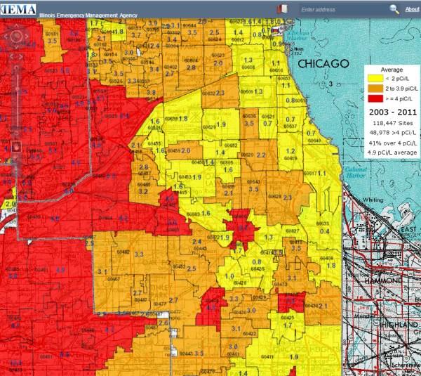 Radon Testing Chicago map of Illinois