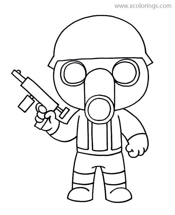 Torcher From Piggy Roblox Coloring Pages Gas Mask Soldier Xcolorings Com