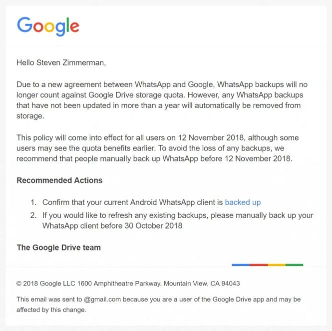 WhatsApp Google Drive storage