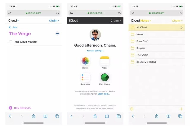 Apple iCloud mobile website