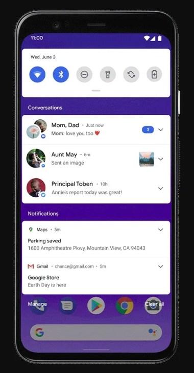 Bildirimlerde Android 11 Sohbetleri bölümü