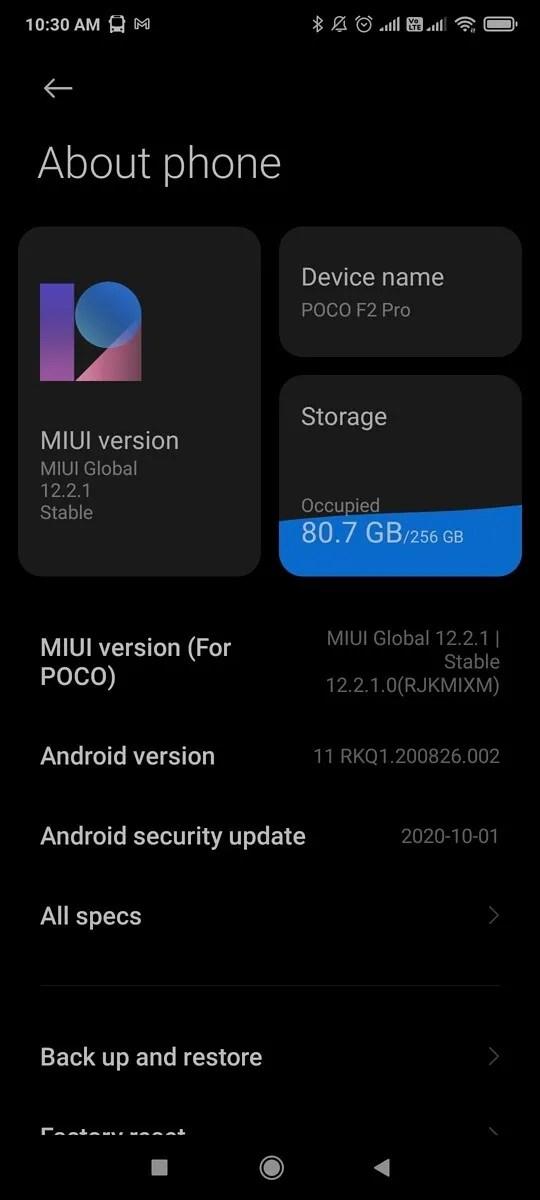 POCO F2 Pro MIUI 12 Küresel Kararlı