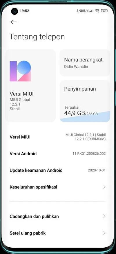Xiaomi Mi 10 Android 11 MIUI 12 V12.2.1.0.RJBMIXM