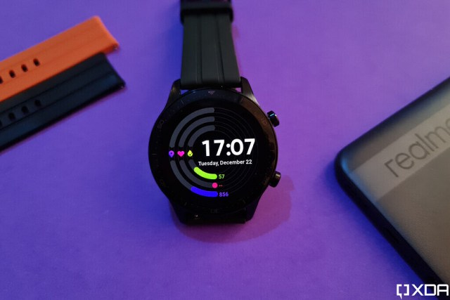 Realme Watch S Pro watch face on purple background