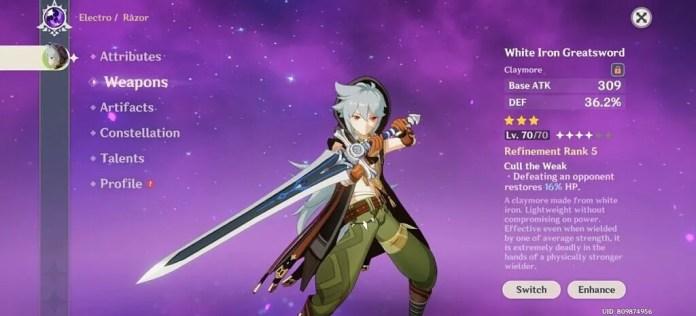 Genshin Impact - Razor Character with White Iron Greatsword weapon