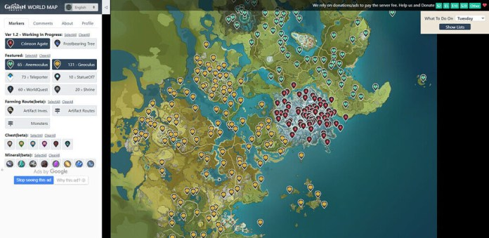 Genshin Impact Interactive Map showing locations of Anemoculus, Geoculus, and Crimson Agates