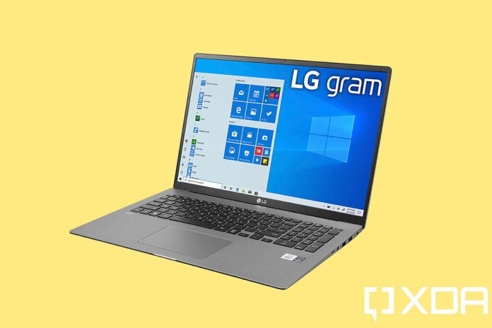LG Gram 17 angled view on yellow background