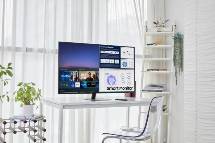 Samsung Smart Monitor with Remote Control on White Desk