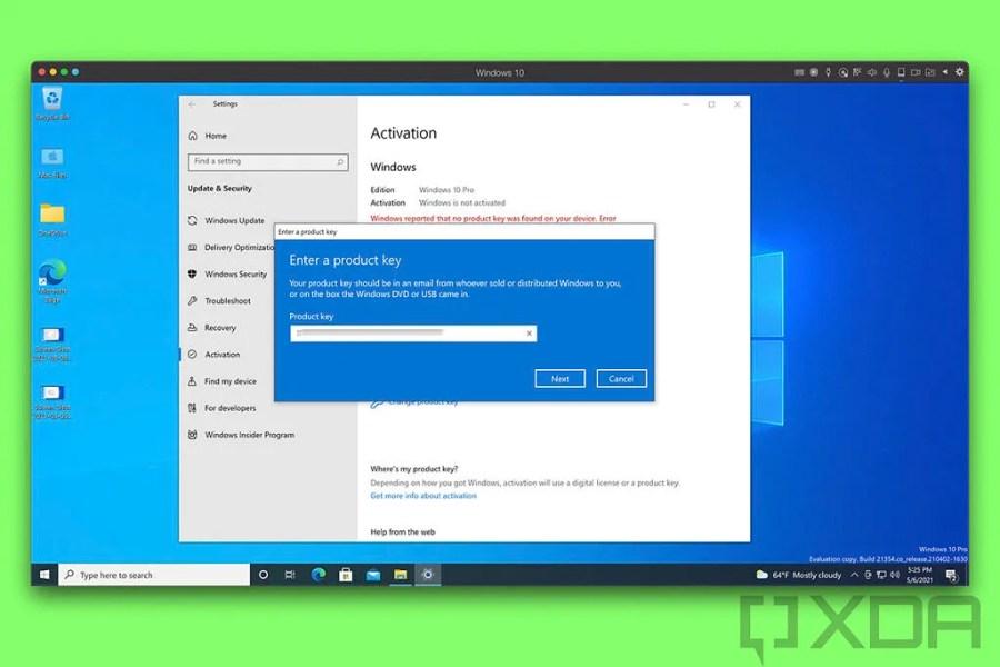 Windows 10 Activation Dialog