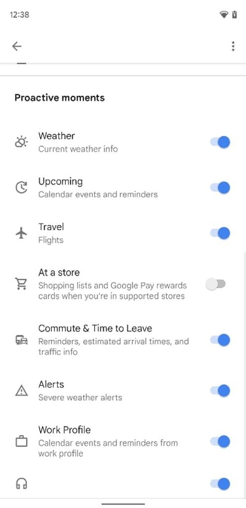 Google Assistant Live Space settings
