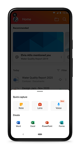 Microsoft Office for Android new note menu