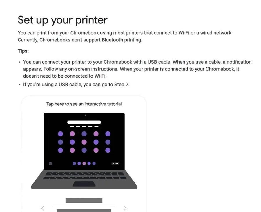 setting up a printer on chromebook