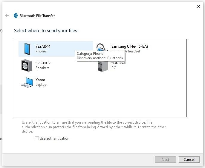 Bluetooth file transfer - select device